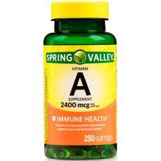 Витамин A Spring Valley, 2400 мкг, 250 капсул