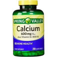 Кальций плюс витамин D3 (800 IU) Spring Valley, 600 мг, 250 таблеток