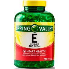Витамин E Spring Valley, 400 IU, 500 капсул