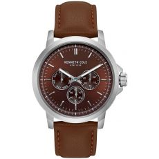 Kenneth Cole New York Men's Dress Sport Chronograph Leather Strap Watch, 43.5mm