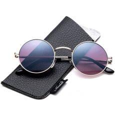 Круглые солнцезащитные очки John Lennon Silver/ Gradient smoke