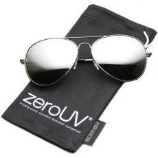 Солнцезащитные очки-авиаторы с зеркальной линзой и металлическим каркасом