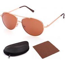Поляризованные солнцезащитные очки-авиаторы Gold