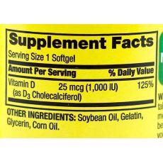 Витамин D3 Spring Valley, 25 мкг (1000 IU), 100 капсул