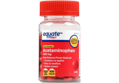 Обезболивающее, жаропонижающее, не содержит аспирин Equate Acetominophen, 500 мг, 100 таблеток