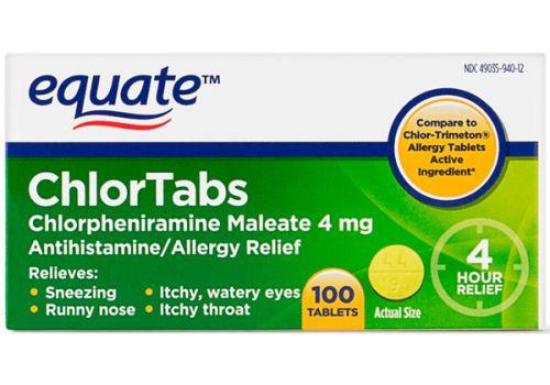 Облегчение аллергии, облегчение чихания, насморк, зуд, слезотечение, зуд в горле Equate ChlorTabs 100 таблеток