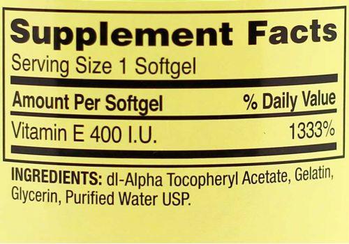 Витамин E Spring Valley,  400 IU, 100 капсул